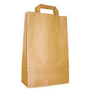 Пакет из бумаги Крафт, 32х17х40 см, плоская ручка, коричневый, печать 1+0